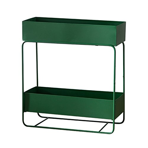 Greenhouse Storage Shed - BJLWT Multifunctional Wrought Iron Floor-Standing Flower Stand Bookshelf Staging Shelving Unit for Garden/Greenhouse - Shed & Garage Storage Racking (Color : Green, Size : Double Tier)