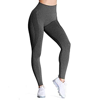 Aoxjox Women's High Waist Workout Gym Smile Contour Seamless Leggings Yoga Pants Tights (Black Speckled Marl New, Medium)