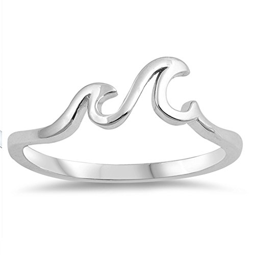 Wave Ocean Sea Tropical Nature Thumb Ring .925 Sterling Silver Band Size - Sterling Wave Silver Genuine