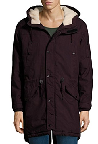 Bershka Men's Parka Jacket with Adjustable Hood Removable Faux Fur Elasticated Cuffs Size XXL Extra Extra Large (XXL, Plum) by Bershka Menswear Collection