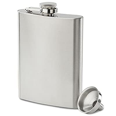 Premium 8 oz Flask - 304 (18/8), Food Grade, Stainless Steel | Leak Proof | Liquor Hip Flask by Future Hydrate | Includes Free Bonus Funnel and Gift Box (8 ounce capacity)