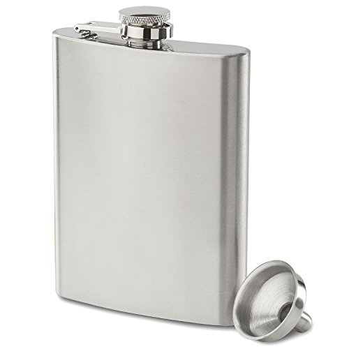 Future Hydrate 304 (18/8) Stainless Steel Leak Proof Liquor Hip Flask with Funnel and Gift Box, 8 oz ()