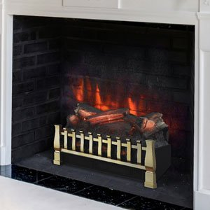 Duraflame DFI021ARU-02 Electric Log Set Heater with Realistic Ember Bed, Brass (Fake Electric Fireplace Insert)