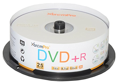 XtremPro DVD+R 16X 4.7GB 120min Recordable DVD 25 Pack Blank Discs in Spindle - 11025