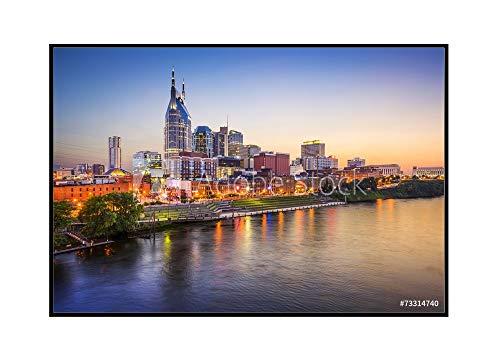 Tn Framed Nashville (Nashville, Tennessee - City Skyline - Photography A-92397 (18x12 Framed Gallery Wrapped Stretched Canvas))