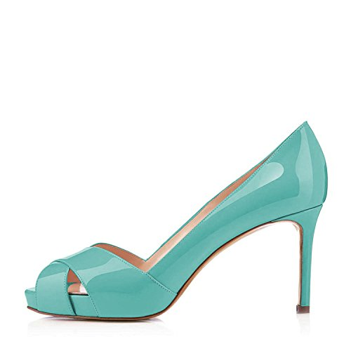 Slip YDN Shoes Platform Stilettos Toe Peep on Heel High Summer Pumps Party for Turquoise Women qwA0HqF