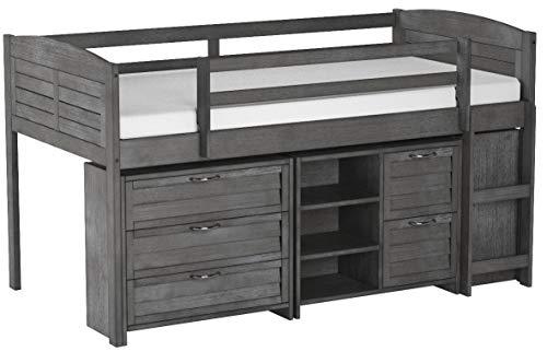 Custom Kids Furniture Grey Twin Loft Beds with Dresser and Bookshelf - Free Storage Pockets