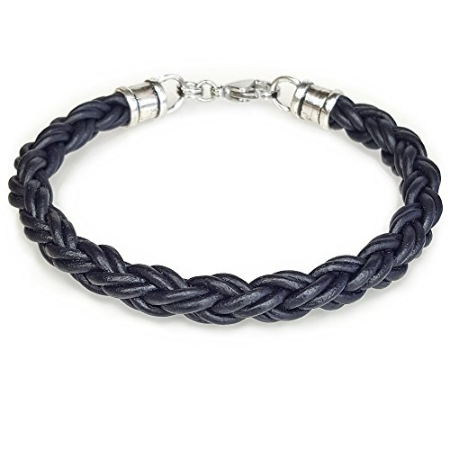 BLACK Braided Leather Rope Bracelet for Men & Women - Lucky Dog Leather- Genuine Leather- All Sizes for a Great Fit 7""
