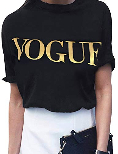 (Women's Oversize Letter Prited Cotton Summer Tank Tops Short Sleeve Vogue Graphic Tee Shirts(BL1-L) Gold)