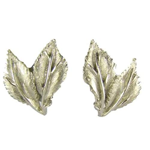 Figural Bright Silver Tone Leaf Earrings
