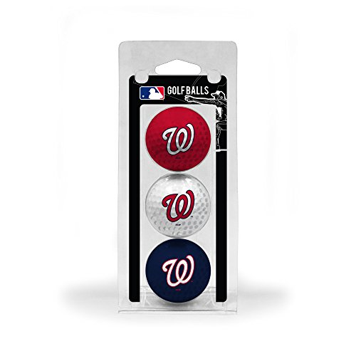 Team Golf MLB Washington Nationals Regulation Size Golf Balls, 3 Pack, Full Color Durable Team Imprint