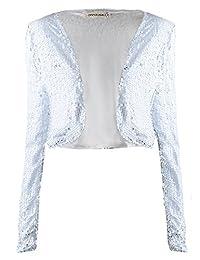 Anna-Kaci Womens Glitter Sequins Long Sleeve Cropped Bolero Vest Jacket
