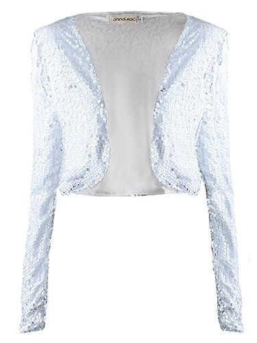 (Anna-Kaci Womens Shiny Sequin Long Sleeve Glitter Cropped Blazer Bolero Shrug, White, Small)