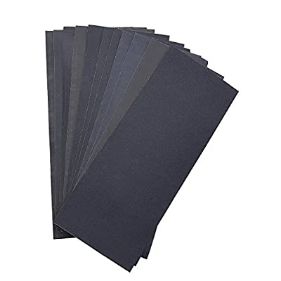 Abrasive Dry Wet Waterproof Sandpaper Sheets Assorted Grit of 400/ 600/ 800/ 1000/ 1200/ 1500 for Furniture, Hobbies and Home Improvement (12 Sheets) by LANHU
