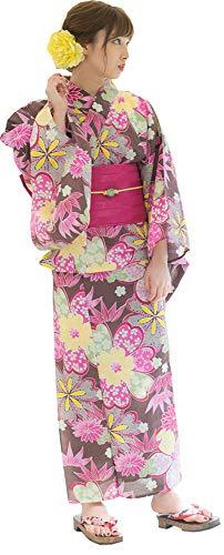 Kimura Jitsugyo Women's Kyoto Traditional Easy Wearing Kawaii Yukata Robe(Japanese Casual Kimono) Full Set 4 Russet & Cherry Blossoms 21 ()