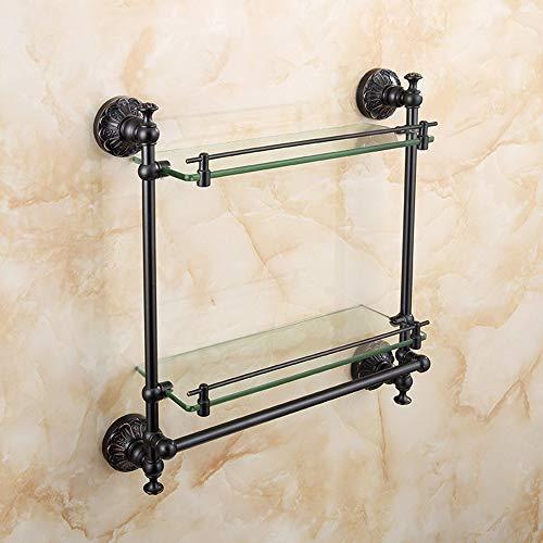 QFFL 2-Layer Bathroom Glass Shelf, Full Copper Retro Bathroom Makeup Rack Wall-Mounted Bathroom Accessories Black Bathroom Shelves