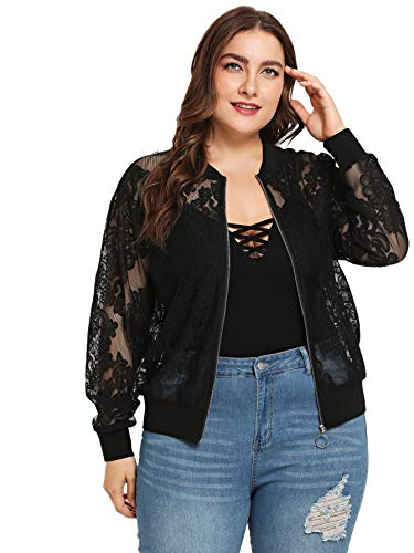 Bomber Mesh Shorts - Romwe Women's Lace Long Sleeve Zip Up Short Bomber Jackets Casual Outwear Black US 8