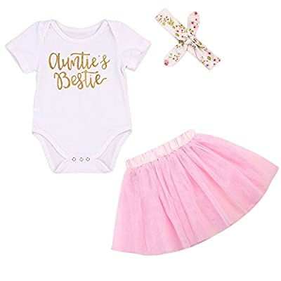BiggerStore 3Pcs/Set Newborn Baby Girl Summer Outfit Auntie Bodysuit Romper with Headband+Pink Tutu Skirt Clothes