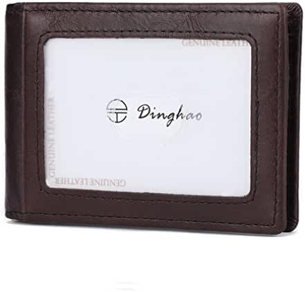 Dinghao RFID Blocking Leather Money Clip Wallet for Men Slim Bifold ID Card Holder