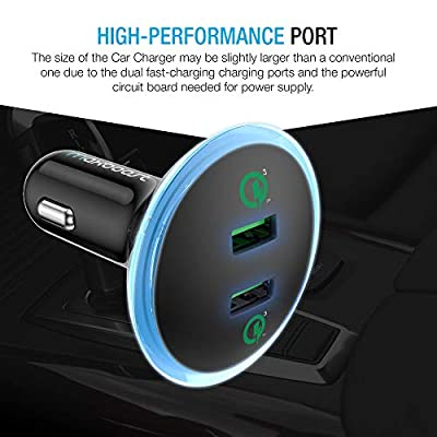 Maxboost Quick Charge 3.0 36W Dual USB Car Charger for Type C Phone - Galaxy S20 Ultra/S10/S10e/S9, Note 10 SmartUSB for iPhone 11 Pro Max/XS/XS Max/XR/X/8/SE/Plus, iPad Pro/Air 2/Mini, Pixel,LG,HTC: Home Audio & Theater