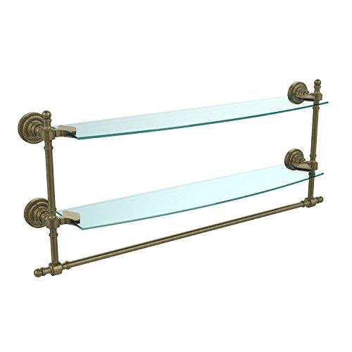 Allied Brass RD-34TB/24-BKM 24'' Double Glass Shelf with TB Satin Nickel by Allied Brass