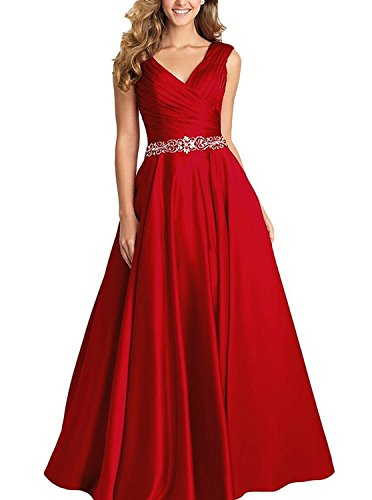 Dannifore Burgundy V-Neck Pleated Satin Prom Dress Beaded Long Formal Evening Gowns for Women Size 4