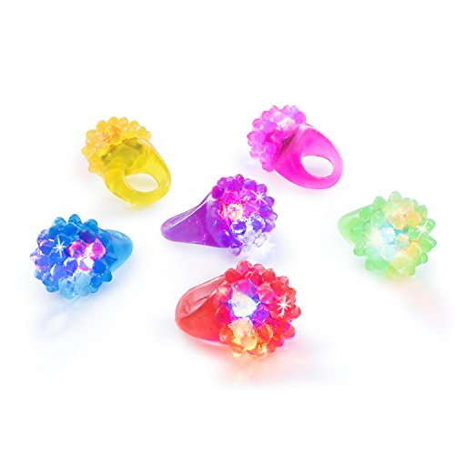 Super Z Outlet Flashing Colorful LED Light Up Bumpy Jelly Rubber Rings Finger Toys for Parties, Event Favors, Raves, Concert Shows, Gifts (18 Pack)]()