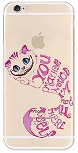 DECO FAIRY Compatible with iPhone 6 / 6s , Cartoon Anime Animated Alice In Wonderland Pink Chester Cheshire Mad cat Series Transparent Translucent Flexible Silicone Cover Case -
