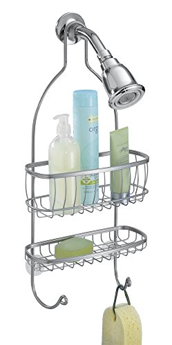 mDesign Bathroom Shower Caddy for Shampoo, Conditioner, Soap, Razor - Silver by mDesign