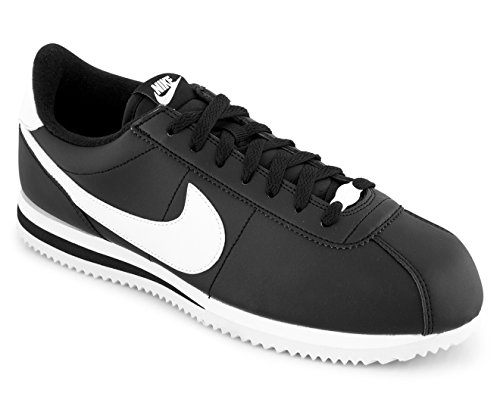 Nike Mens Cortez Basic Sneakers In Pelle Nero / Bianco / Argento Metallizzato