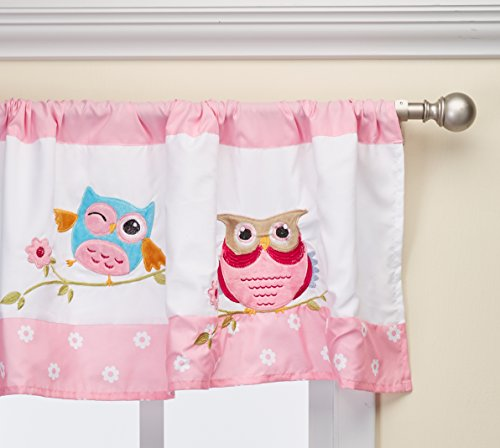 Wise Wendy Printed And Applique Kids Valances for Windows , Girls Valance for Bedroom , 50X18 , Pink