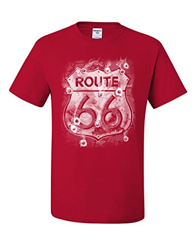 Route 66 T-Shirt Bullet Holes The Mother Road American Highway Tee Shirt Red 5XL