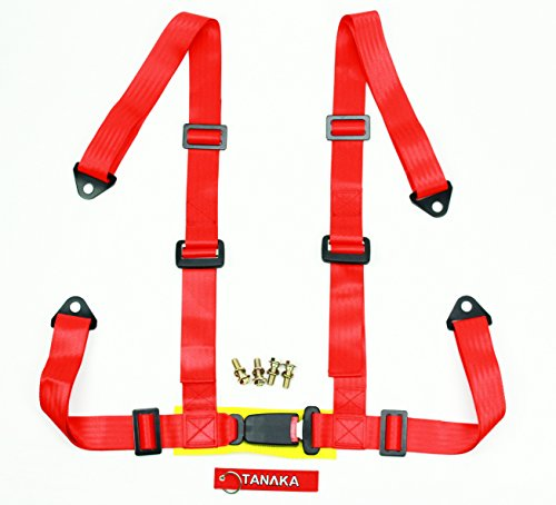 Tanaka Logo Free 4-point Buckle Sports Harness Seat Belt One Set (for one seat) (Red) (Four Point Harness)