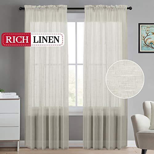 Linen Window Panel - Natural Linen Blended Window Curtain Panels Semi Sheer Curtains 84 - Rod Pocket Sheer Privacy Window Treatment Linen Curtains/Natural Linen Blended Sheer Panels for Bedroom(Set of 2, Natural)