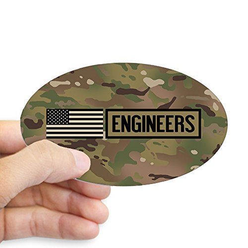 CafePress U.S. Army: Engineers (Camo) Oval Bumper Sticker, Euro Oval Car Decal ()