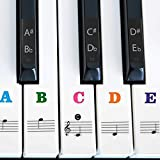 IHUKEIT Piano Stickers for Keys - Removable Piano Key Stickers for 88/61/54/49/37 Keyboards Full Set Black and White Key Music Note Stickers for Both Adult and Kids Beginners - Leave No Residue - Colorful