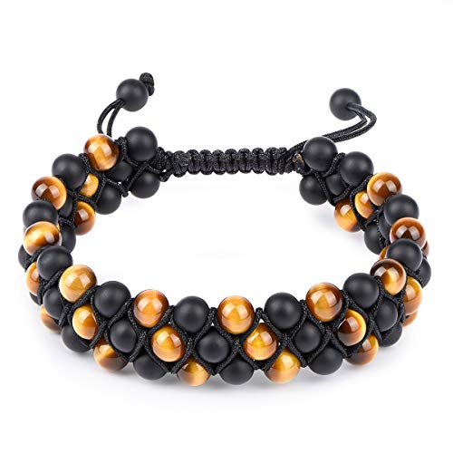 Beads Bracelet Fashion Watch - HASKARE Tiger Eye Stone Bracelet Men Women - Natural Energy Stone Essential Oil Lava Rock Black Onyx Tiger Eye Beads Bracelet Adjustable Couples (Onyx Tiger Eye (3-Layers))