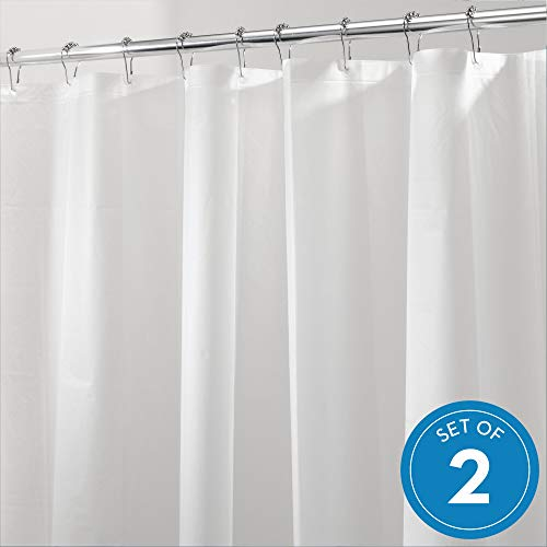 (InterDesign PEVA Plastic Shower Bath Liner, Mold and Mildew Resistant for use Alone or with Fabric Curtain for Master, Kid's, Guest Bathroom, 72 x 72 Inches, Set of 2, White)