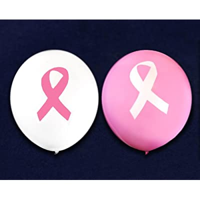 Fundraising For A Cause Pink Ribbon Awareness Balloons (25 Balloons - 2 Colors): Toys & Games