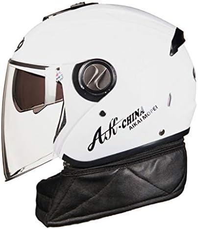 NJ ヘルメット- オートバイ電気自動車のヘルメットの男性と女性四季ユニバーサルダブルレンズ防曇帯ビブヘルメット (Color : White, Size : 31x25x26cm)