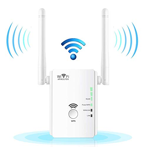 WiFi Extender Range Booster, Aigital Upgraded WiFi Repeater Mini Router Wireless Internet Signal Amplifier with Dual External Antennas, Extend Wi-Fi to Cover Longer Areas, Easy Setup (300Mbps, 2.4GHz) (Easy Setup Wireless Router)