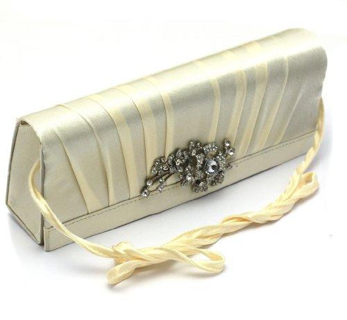Damen Handtasche Clutch mit edlem Strass Stein Broschen Muster in eleganten Glamour Satin Samt Beige