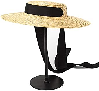 SODIAL Wide Brim Boater Hat 15Cm Brim Straw Hat Flat Women Kentucky Derby Hat Black Ribbon Tie Sun Hat Beach Cap