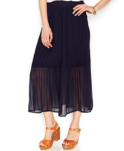 UPC 844620110493, Maison Jules Womens Chiffon Mid-Calf Pleated Skirt Navy L