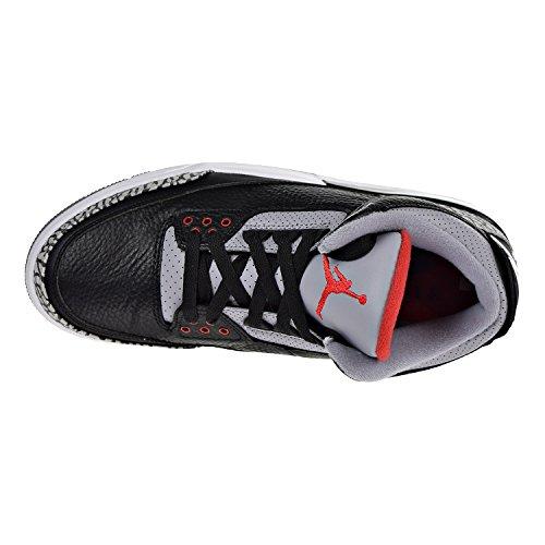 Nike Scarpe Uomo Air Jordan 3 Retro OG n Pelle Grigia e Nera 854262-001