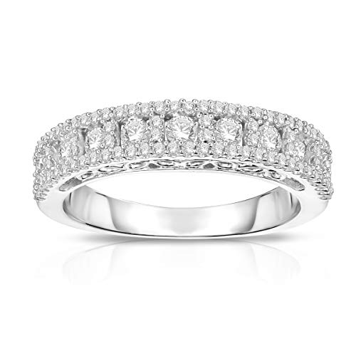 Sterling Silver 3/4ctw Diamond Triple Row Anniversary Wedding Band