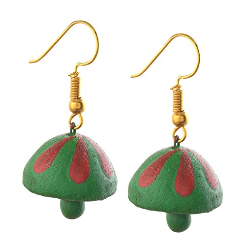 Zephyrr Fashion Handmade Painted Terracotta Hook Jhumki Earrings For Girls and Women