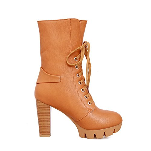Bandage Buckle Ladies Yellow Imitated A Leather amp;N Platform Boots qPgnCnwa