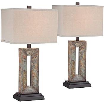 Yukon Modern Table Lamps Set Of 2 Natural Slate Stone