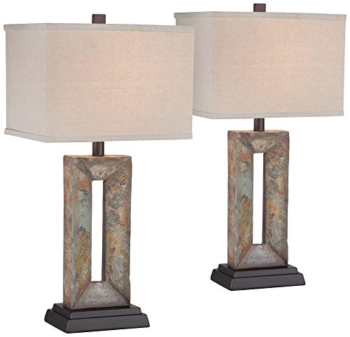 Tahoe Bedroom - Tahoe Rustic Table Lamps Set of 2 Natural Stale Open Rectangular Box Shade for Living Room Family Bedroom Bedside - Franklin Iron Works